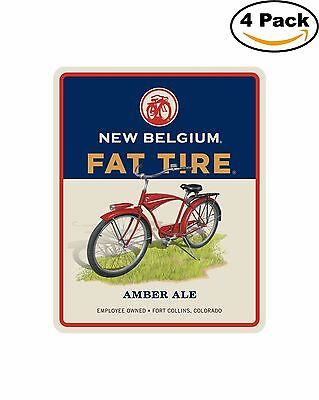 Fat Tire Rect New Belgium Beer Alcohol Decal Diecut Sticker 4 Stickers