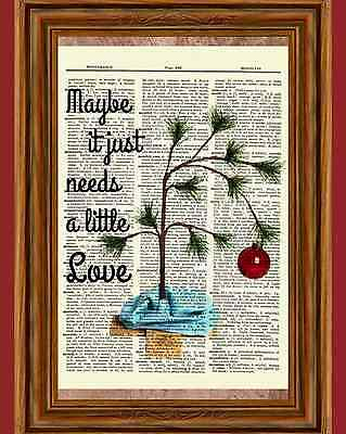 Charlie Brown Christmas Tree Dictionary Art Print Picture Poster Peanuts Holiday - Peanuts Christmas Movie