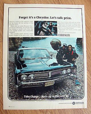 1967 Chrysler Newport 2 Dr in Regal Blue Metalic Ad Couple Scuba Divers