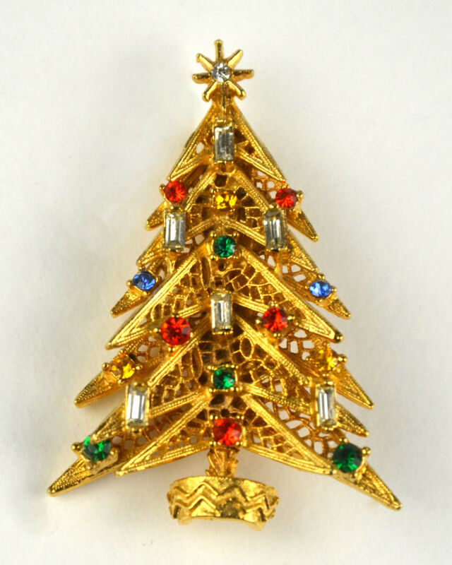 Christmas Tree Pin Rhinestone Candles Holiday Jewelry Brooch Signed ART Gold and