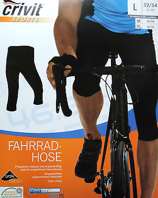 Herren Fahrradhose Radhose Caprilänge 3/4 Sitzpolster Bikehose Hose M L XL NEU