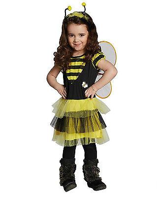 Biene Mädchen Kostüm (Bienchen Kinderkostüm 2-tlg. Schwarz Gelb Biene Mädchen Fasching Karneval Kleid)