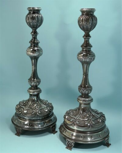 Pair Of Portuguese 833 Silver Repousse Candlesticks Poppy Seed Buds Late 1930s