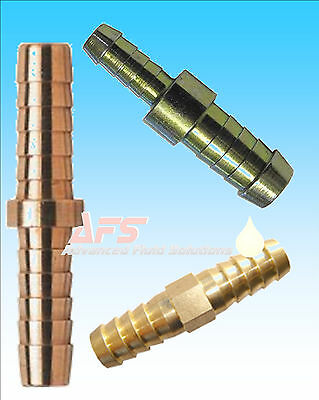 Metal Air Connector (Metal Brass Straight Hose Joiner Barbed Connector Air Fuel Water Pipe Gas Tubing )