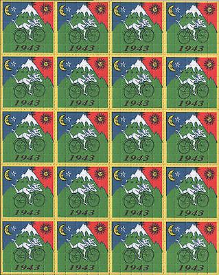 ALBERT HOFMANN 20 PANEL BIKE RIDE 1943 - QUALITY BLOTTER ART - 500 SQUARES