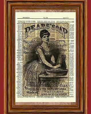 Victorian Lady Dictionary Art Print Poster Picture Pear's Soap Bathroom Decor