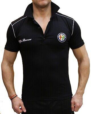 Schwarzes Baumwoll-t-shirt (Alfa Romeo Sport Polo EMBROIDERED LOGO Schwarz Baumwoll-T-Shirt für Herren Auto)