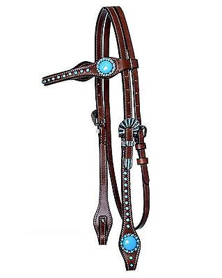 Western Imports Headstall Navajo, Westerntrense Trense Leder braun türkis, neu