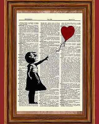 - Banksy Girl With a Balloon Dictionary Art Print Picture Poster Nursery Child