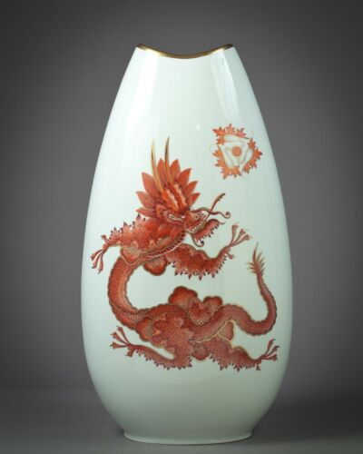Antique Large German Porcelain Dragon Vase, Rosenthal, 20th Century