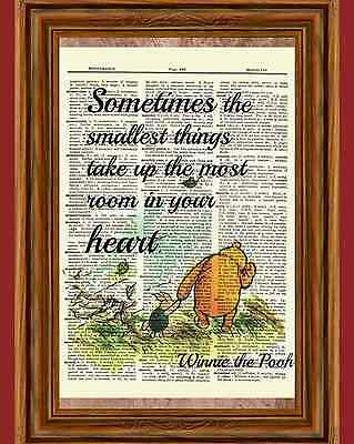 Winnie the Pooh Dictionary Art Print Picture Poster Classic Piglet Vintage