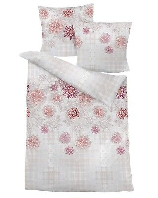 Dormisette Biber Bettwäsche Blumen natur rosenholz 80x80+135x200cm (7366#40)