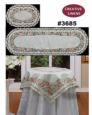 Embroidered Rose Daisy Floral Placemat Table Cloth Runner Topper Beige 3685 (Beige Table Runner)