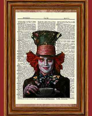 Mad Hatter Movie (Johnny Depp Mad Hatter Dictionary Art Print Alice in Wonderland Picture)