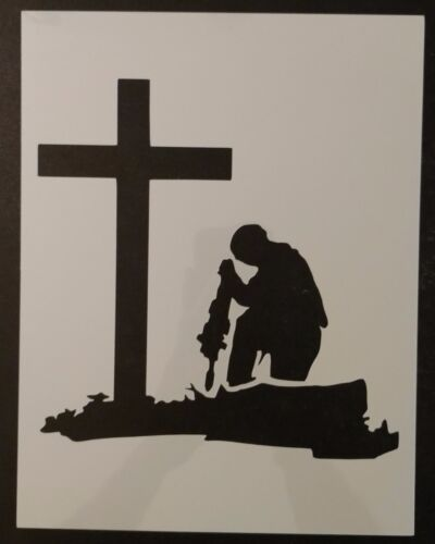 """Military Soldier Kneeling At Cross 11"""" x 8.5"""" Custom Stencil FAST FREE SHIPPING"""