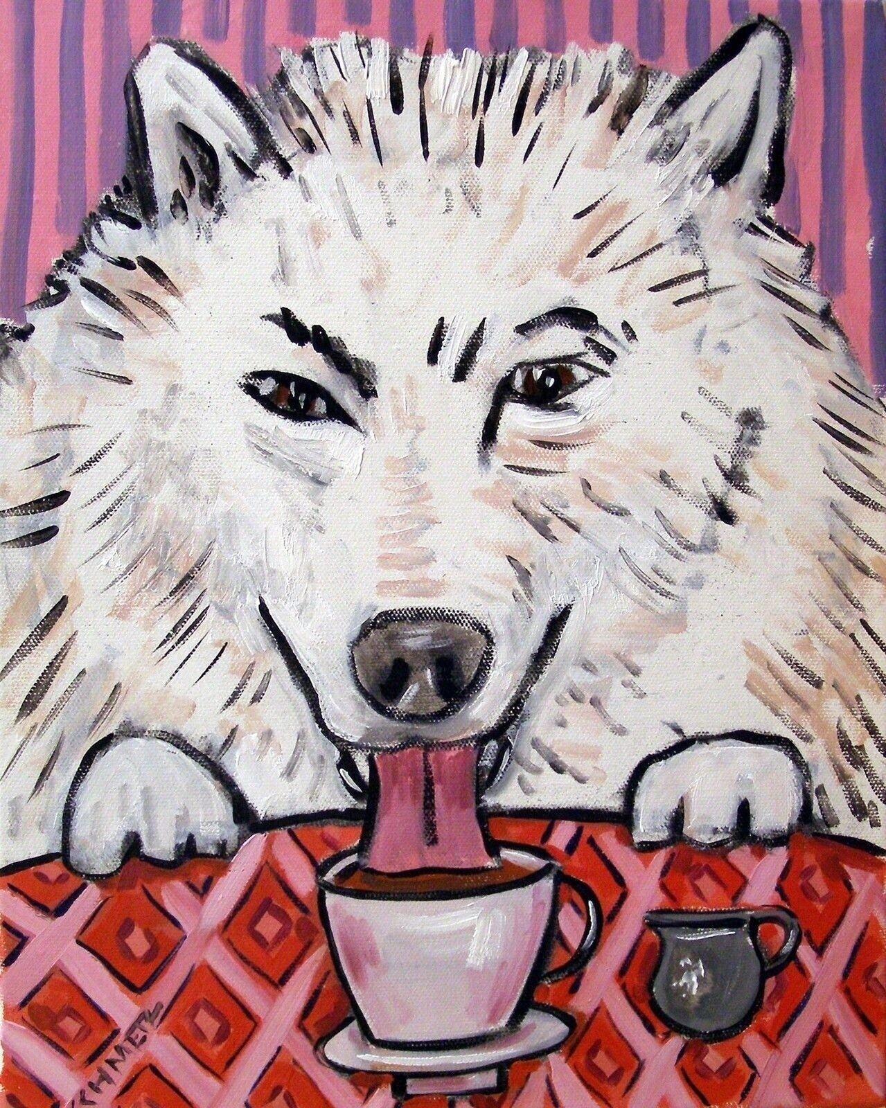 RUSSIAN SHEEPDOG coffee painting dog art  13x19  GLOSSY PRINT
