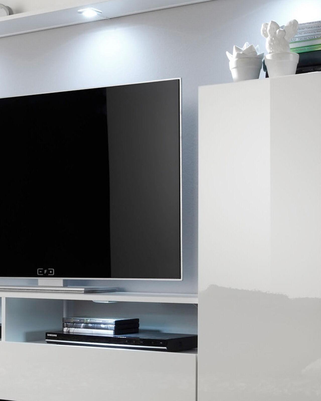 wohnwand wei hochglanz fernsehschrank wohnzimmer tv hifi. Black Bedroom Furniture Sets. Home Design Ideas