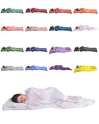 - 100% PURE SILK SINGLE SLEEPING BAG LINER TRAVEL SHEET SLEEPSACK FREE SHIP FR USA