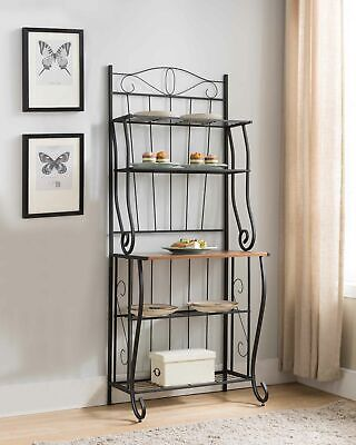 Kings Brand Furniture - Brion Black / Walnut 5-Tier Kitchen Storage Bakers Rack