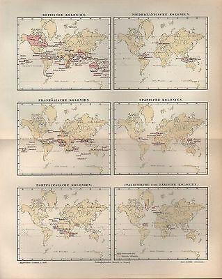 Landkarte 1896: ÜBERSICHT DER DEUTSCHEN KOLONIEN. Britische Französische Spanisc