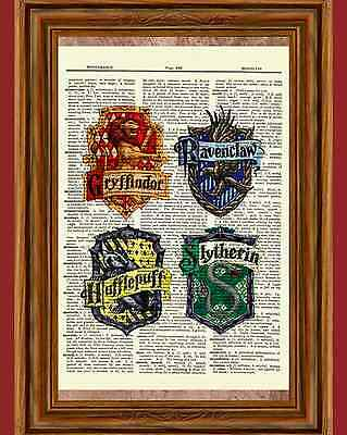 Harry Potter Dictionary Art Gryffindor Slytherin Ravenclaw Hufflepuff Poster
