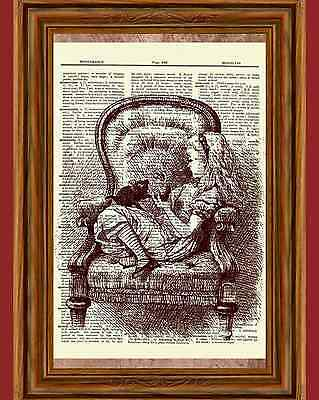 Alice in Wonderland Dictionary Art Print Book Picture Tale Poster Chair Cat