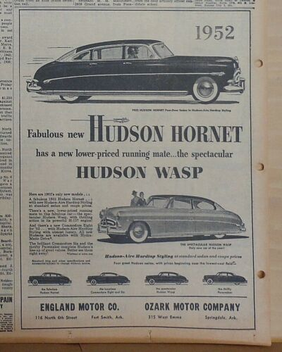 1952 newspaper ad for Hudson - 1952 Hornet, Wasp, Commodore, Pacemaker