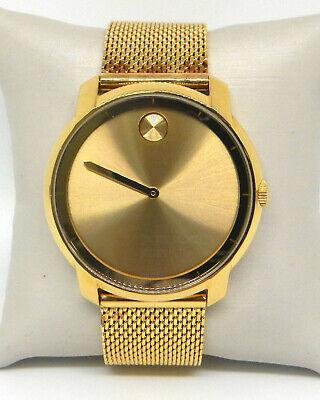 MOVADO BOLD GOLD DIAL MESH BRACELET SWISS QUARTZ MEN'S WATCH 3600373 Gold Diamond Mesh Bracelet
