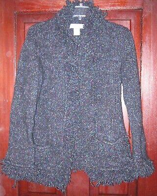 Nine West M Cardigan Sweater Coat Jacket Thick Knit Fringe Flecks Pockets Wool