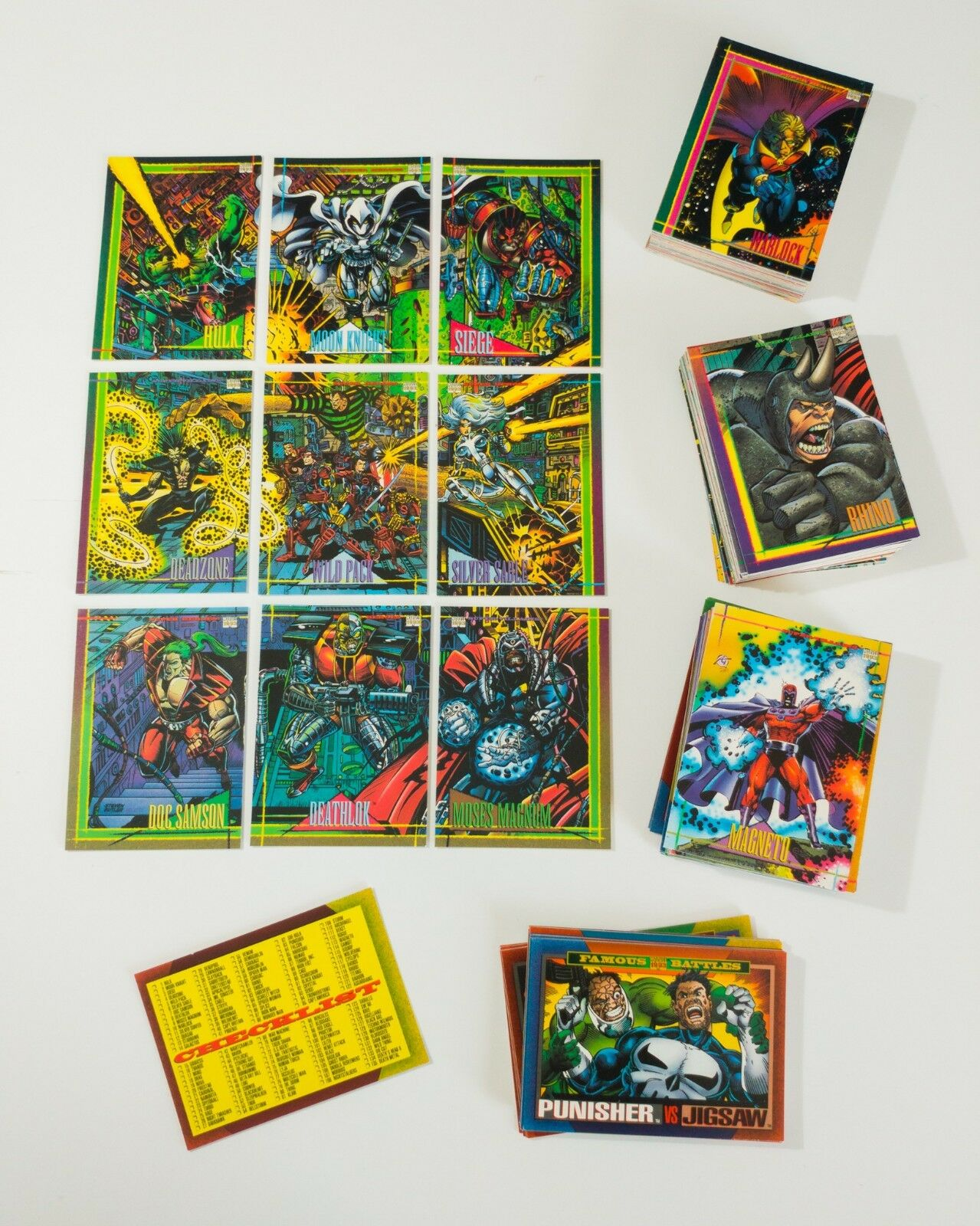 1993 Marvel Universe Trading Cards Complete Base Red Foil Set Skybox Series 4 - $30.00