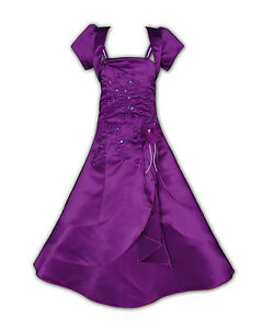 New Satin Bridesmaid Flower Girls Dress+Bolero Purple Red Blue White Pink 2-13 Y