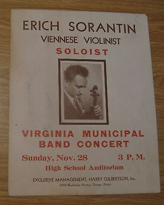 VINTAGE 1937 VIRGINIA MINNESOTA ERICH SORANTIN VIOLINIST MUSIC CONCERT POSTER