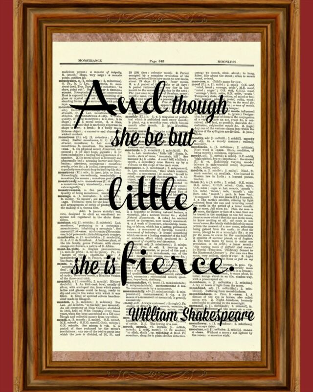 Shakespeare Dictionary Art Print Book Page Inspirational Gift Picture Poster
