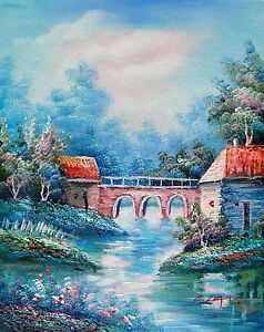 LAKE-CANAL-Hand-Signed-Original-Oil-Painting-on-Canvas