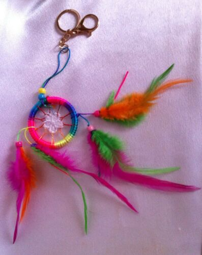 NEW Cherokee Handmade Dream Catcher Rianbow Keychain Fluorescent Feathers, Beads