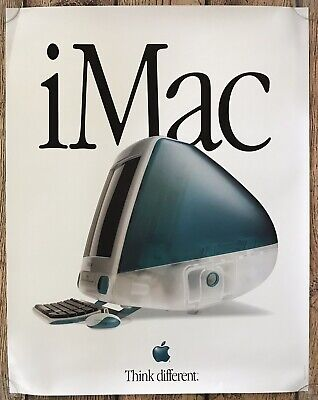 "Vintage Apple iMac Computer Poster 22x28 ""Think different""  NEW DEALER EDITION"