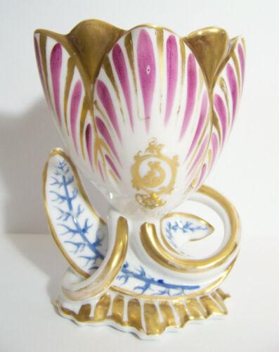Old Paris Tulip Porcelain Vase pink & blue antique