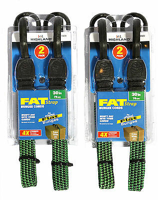 """Highland 30"""" Fat Strap Bungee Cords Original Flat Extra Wide 4 Count"""