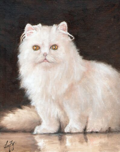 Original Oil CAT Portrait Painting Artwork WHITE KITTEN FELINE Artist Signed Art