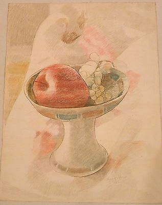 Bowl of Fruit Crayon & Pencil Drawing-1962-August Mosca