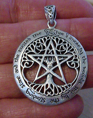 DRYAD STERLING SILVER X-LARGE CELTIC TREE PENTACLE PENDANT-P.BORDA- PAGAN WICCA  on Rummage