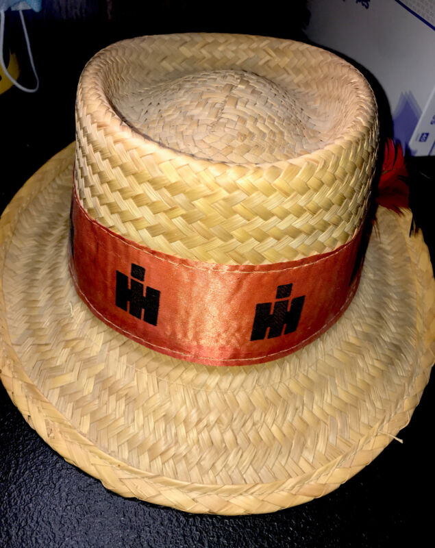 Vintage International Harvester IH Farm Straw Hat - Tractor