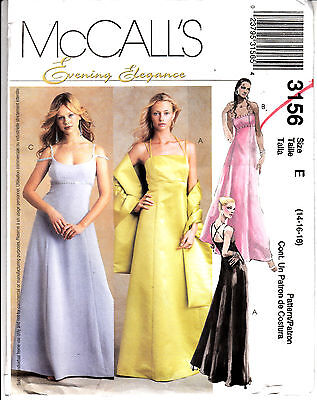 Wedding Bridal Bridesmaid Dress Empire Waist McCalls Sew Pattern 3156 FF 14-18