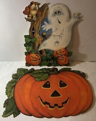 VTG Hallmark Halloween Cardboard CutOuts Lot (2) Jack-o-Lantern, Ghost & Tree