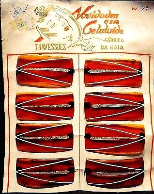 Vintage 8 Hair Slides Clips  made in Portugal in the 1960'S by - Hair In The 1970s