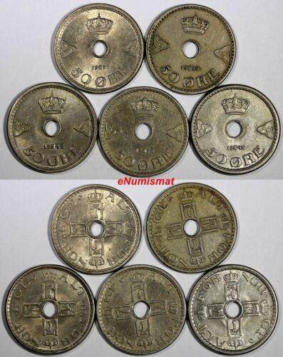 Norway Haakon VII LOT OF 5 COINS 1929(2 p),1945,1948,1949 50 Øre KM# 386 (17474)
