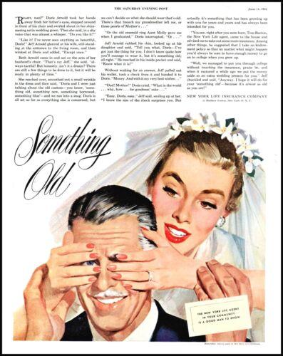 1952 Bride & father wedding New York Life insurance vintage art Print Ad  adL31