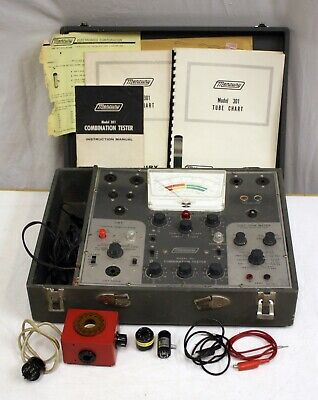 Vintage Mercury 301 Combination Tube Crt Vom Cap Tester W Charts Manual Adapters