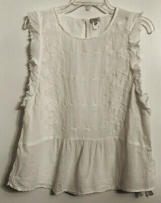 Anthropologie HOSS INTROPIA White Embroidered Sleeveless Cotton Top Size M / 40