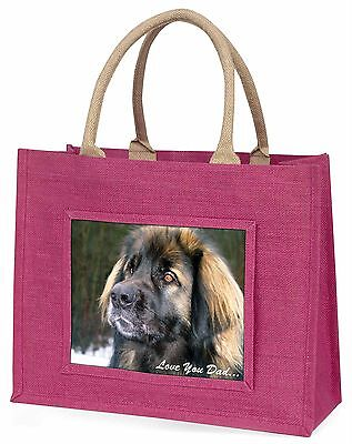 Leonberger Dog 'Love You Dad' Large Pink Shopping Bag Christmas Prese, DAD-68BLP